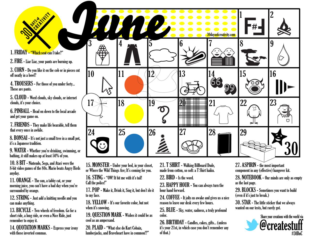 30 days of creativity calendar