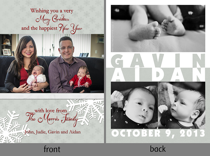 Custom Birth Announcement for Twins & Christmas